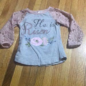 Lace Sleeved He is Risen Raglan Shirt